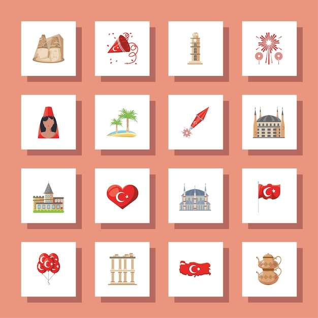 Turkish detailed style icons collection design, turkey culture travel and asia theme vector illustration Premium Vector