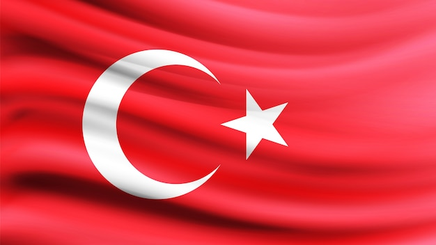 Turkish flag blowing in the wind. Premium Vector