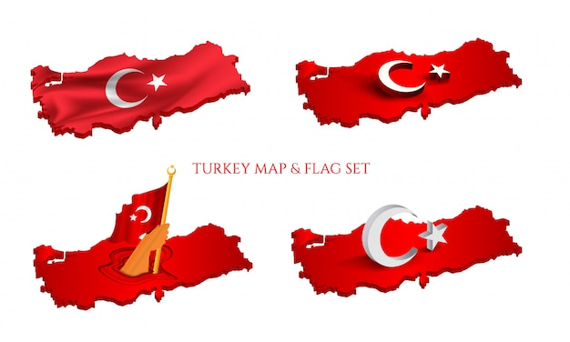 Turkish flag on the map. 4 different version on white background. Premium Vector