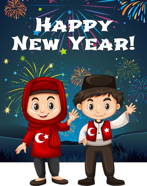 Turkish kids on new year card vector free download turkish kids on new year card free vector m4hsunfo