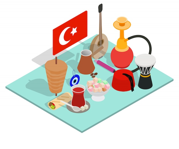 Turkish tea concept banner, isometric style Premium Vector