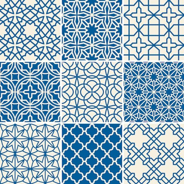 Turkish texture seamless patterns Premium Vector