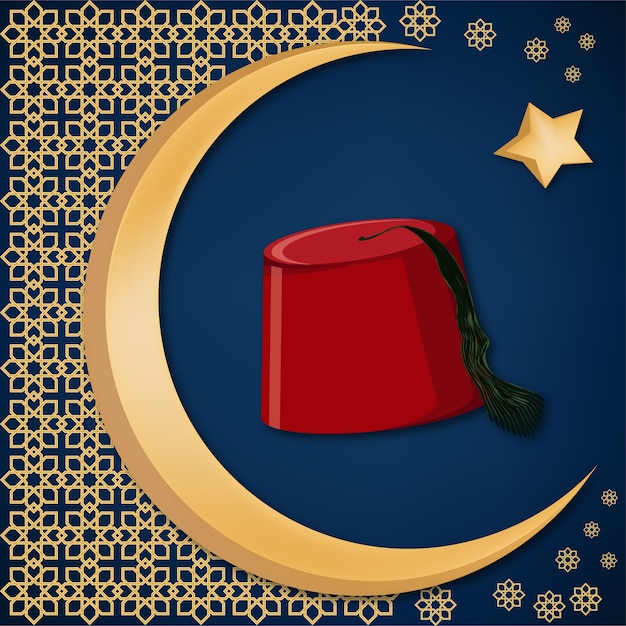 Turkish traditional red hat fez or tarboosh Premium Vector