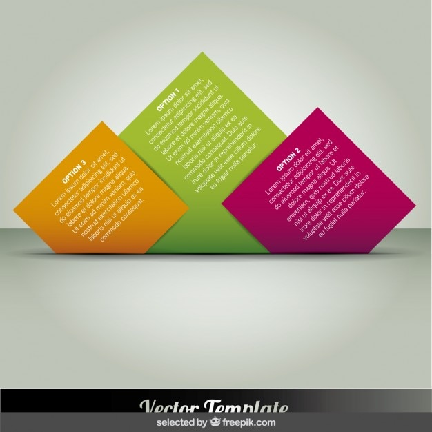 Turned squares infographics Free Vector