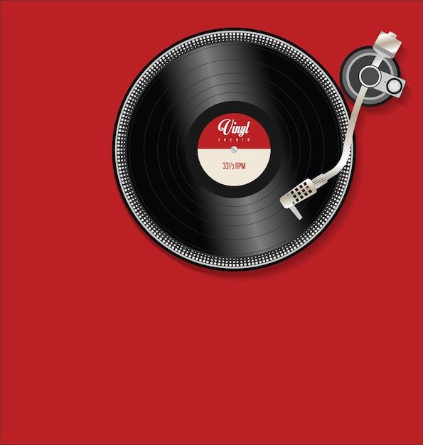 Проигрыватель и виниловая пластинка плоская простая иллюстрация концепции Premium векторы