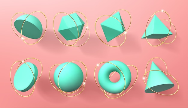 Turquoise 3d geometric shapes with golden rings Free Vector