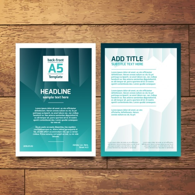 turquoise abstract a5 brochure vector free download