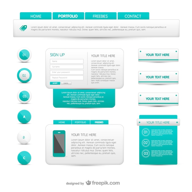 Turquoise And White Web Elements Free Vector