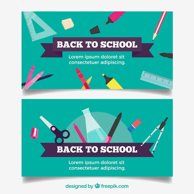 Turquoise back to school banners in flat design