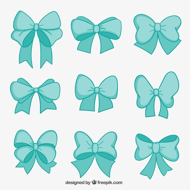 Turquoise bows collection Free Vector