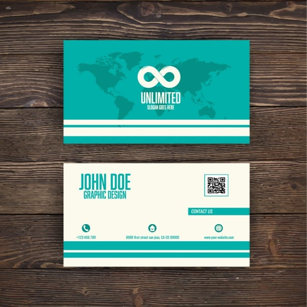 Turquoise business card with a map Free Vector