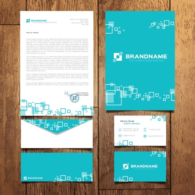 Turquoise business stationery with squares Free Vector