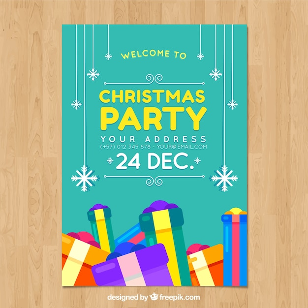 Turquoise christmas party poster