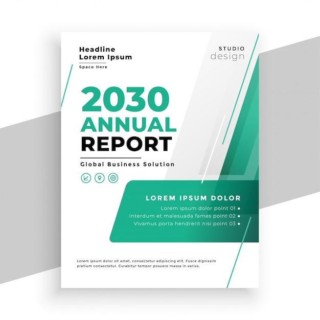 Бирюзовый цвет бизнес годовой отчет флаер шаблон дизайна Бесплатные векторы