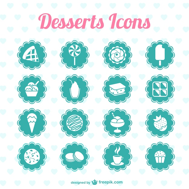 Turquoise desserts icons Free Vector