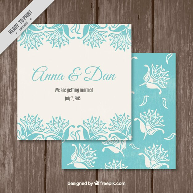Elegant Wedding Invitation Templates: Turquoise Elegant Wedding Invitation Template Vector