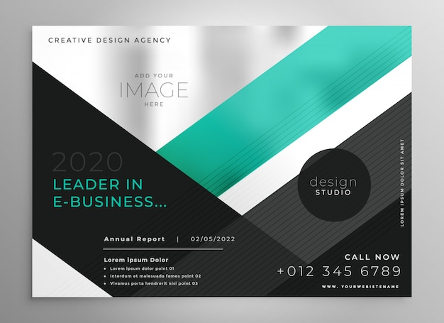 Turquoise geometric business brochure presentation template Free Vector