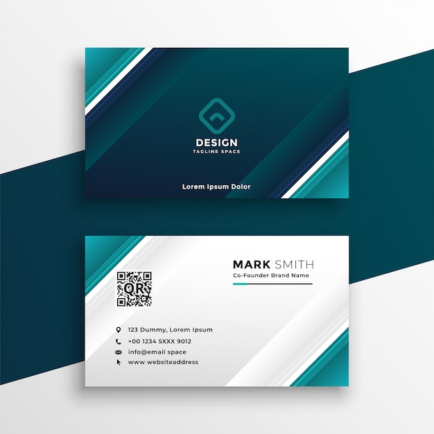 Turquoise geometric business card design Free Vector