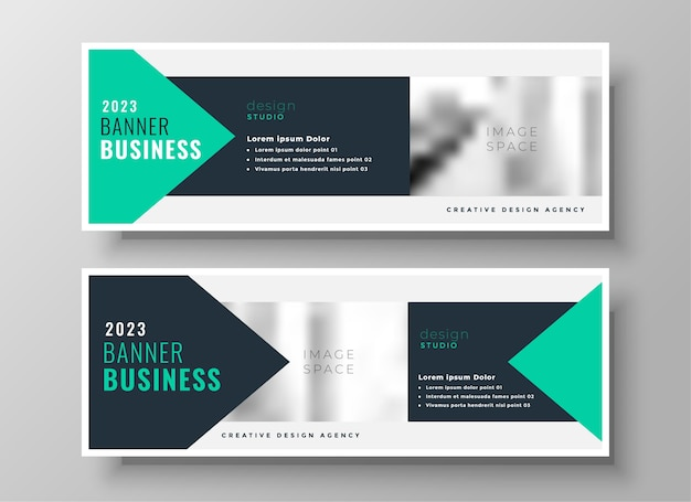 Turquoise geometric business facebook cover or header design template Free Vector