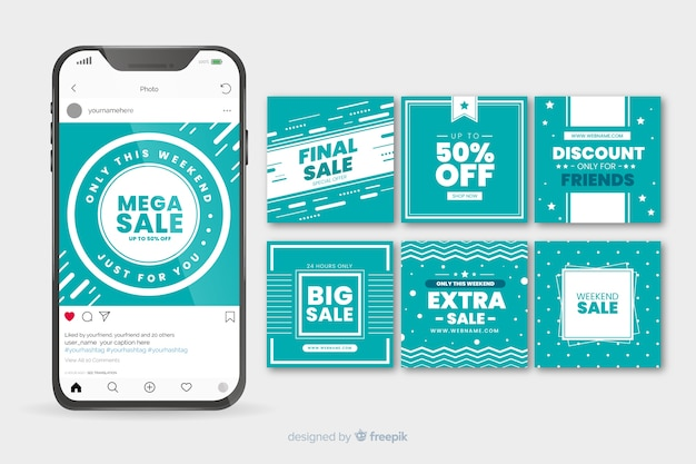 Turquoise geometric instagram post template collection Free Vector