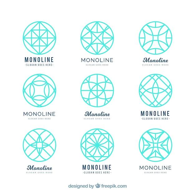 Turquoise geometric logos in monoline style