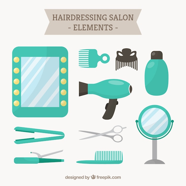 Turquoise hairdressing salon elements vector free download for Salon turquoise