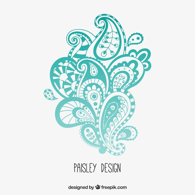 Turquoise Paisley Design Vector Free Download