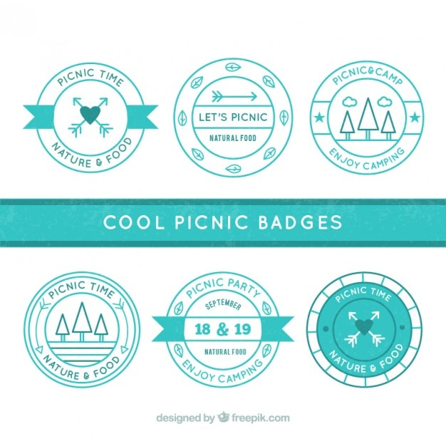 Turquoise picnic badges