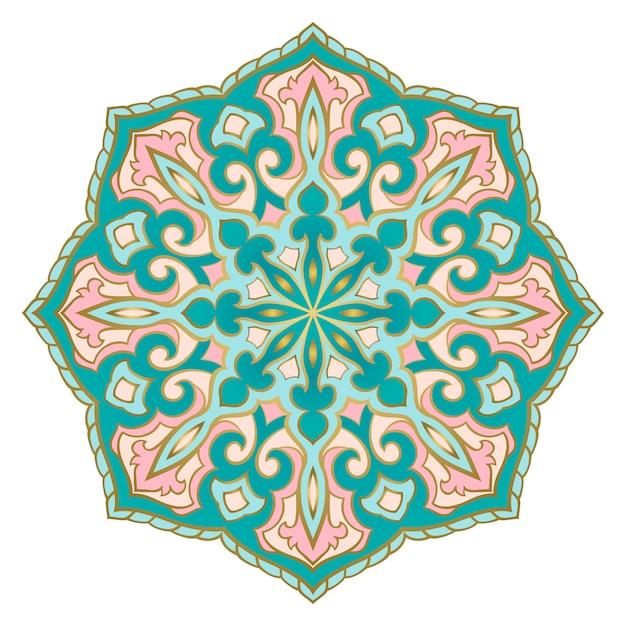 Turquoise and pink indian mandala. Premium Vector