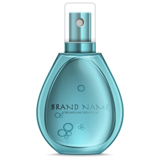 Turquoise realistic parfume bottle isolated on white Premium Vector