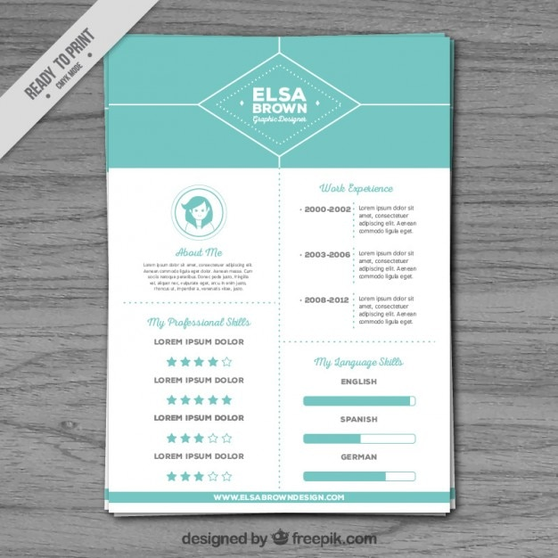 turquoise resume template vector