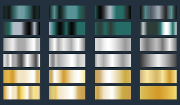 Turquoise, silver and gold metallic foil texture set. Premium Vector