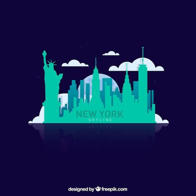 Turquoise skyline of new york Free Vector