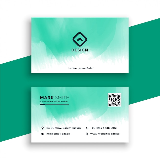 Turquoise watercolor business card design Free Vector
