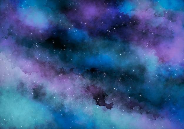 청록색 수채화 은하 성운 배경 무료 벡터