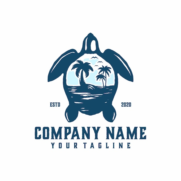 Turtle beach logo template vector Premium Vector