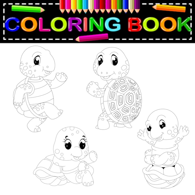 - Turtle Coloring Book Premium Vector