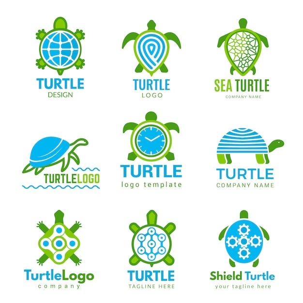 Черепаха логотип. океан диких животных стилизованные символы тату с черепахой деловой идентичности Premium векторы