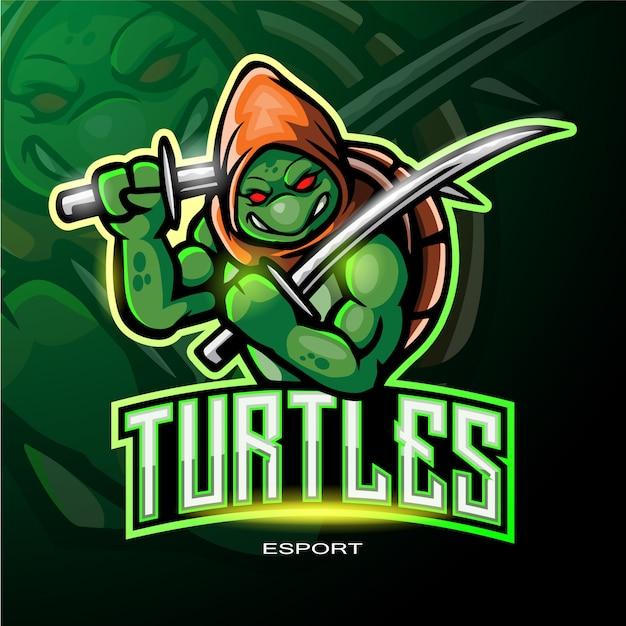 Turtle mascot logo for electronic sport gaming logo Premium Vector