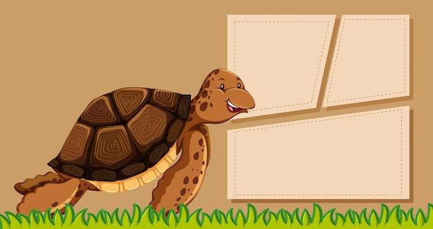 Turtle on note template Free Vector