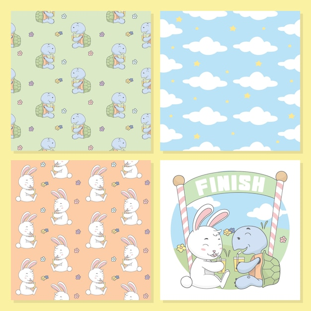 Turtle and rabbit drink, cloud seamless pattern. Premium Vector