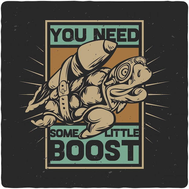 Turtle and rocket Premium Vector
