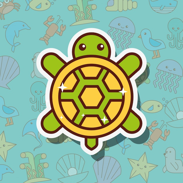 Turtle sea life cartoon Premium Vector
