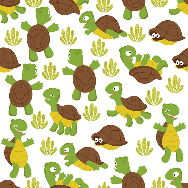 Turtle seamless pattern. wild cute tortoise print texture for kids textile Premium Vector