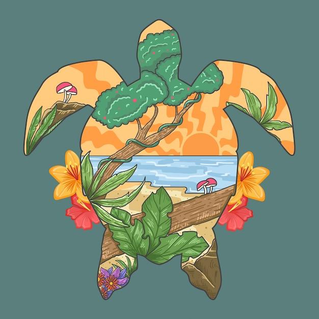 Turtle summer beach paradise spring season vector Premium Vector