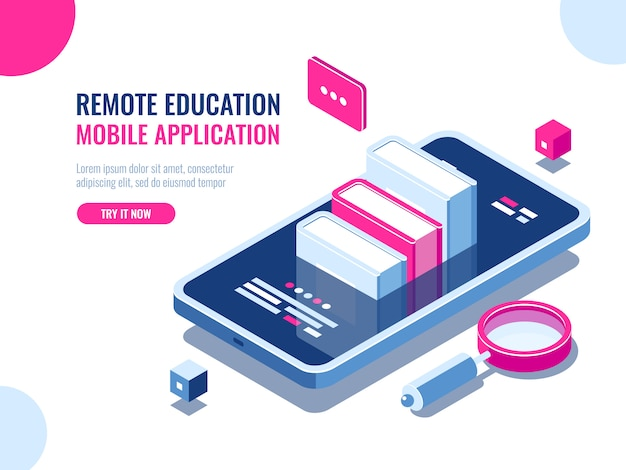 Tutorial on mobile phone application, online education, internet course, data searching Free Vector