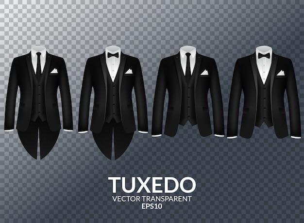 Tuxedo and bow. stylish suit. Premium Vector