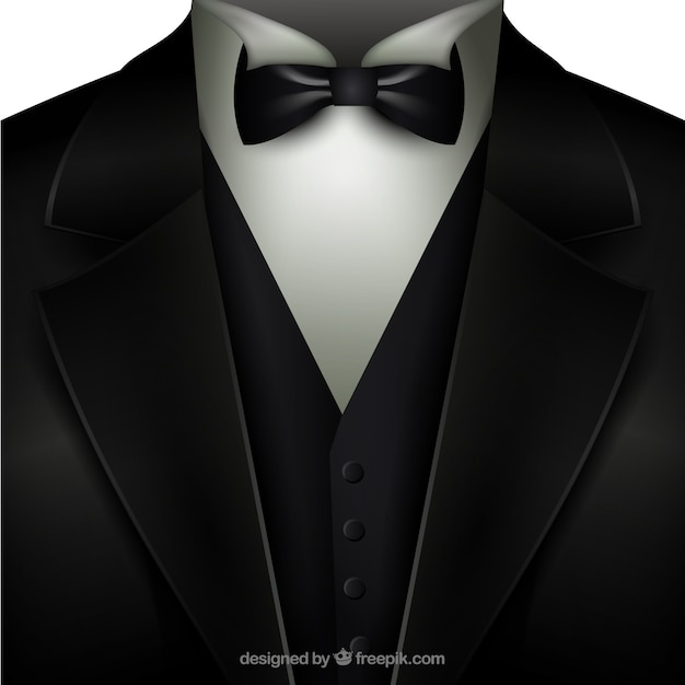 Tuxedo with a bow tie Free Vector