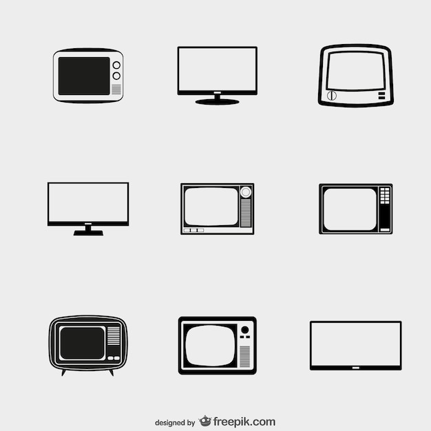 Tv icons pack Free Vector