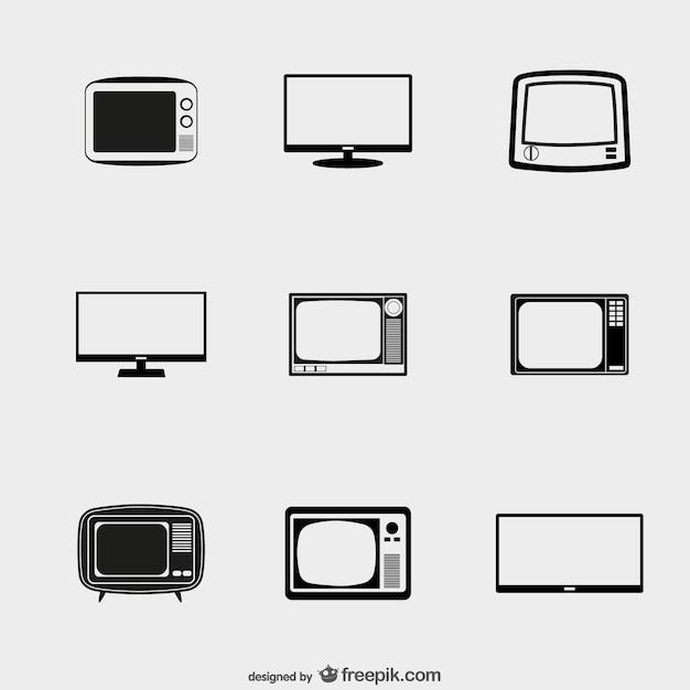 Tv icons pack Premium Vector